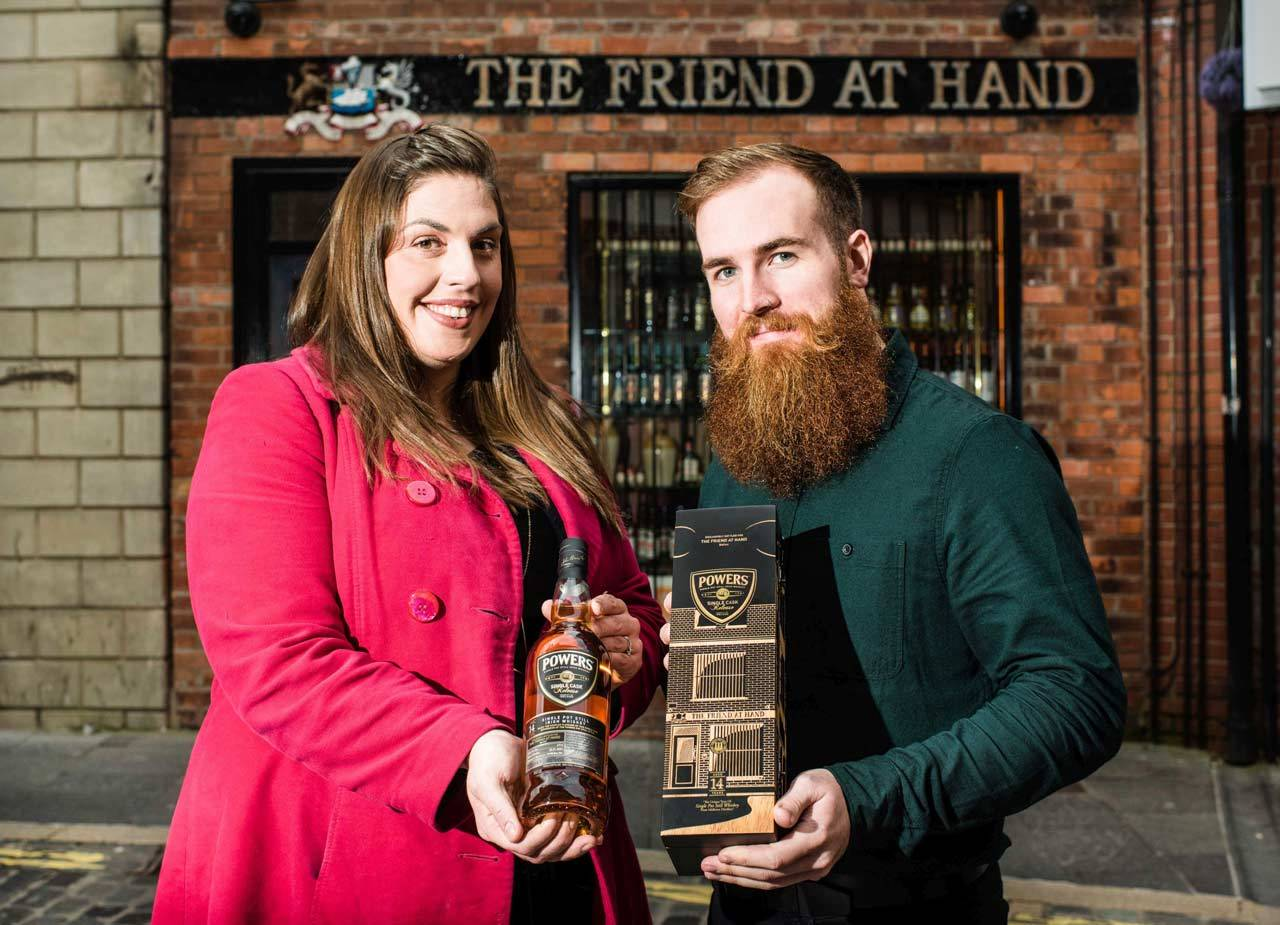 Sarah Harvey and Joe Magowan outside The Friend at Hand in Belfast's Hill Street